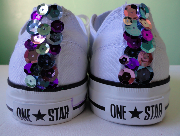 8b29ab11c5c9 Sequin s adorn the spine of my Converse One Star s. I want people to see my  sequins coming AND going!