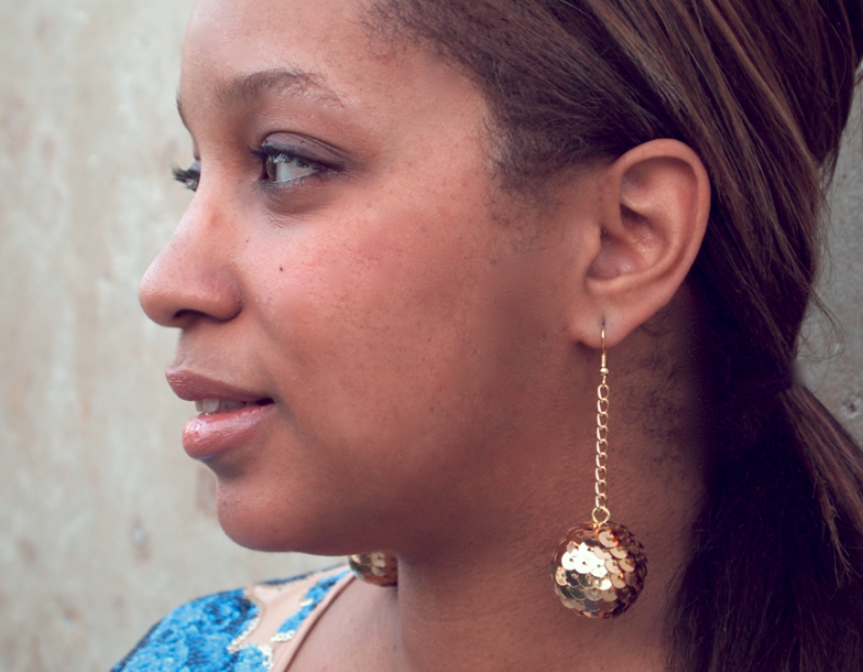 DIY: Bouncy Ball Sequin Drop Earring |