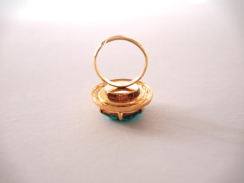 Glitter N Glue DIY Emerald Green Button Ring ADD BASE