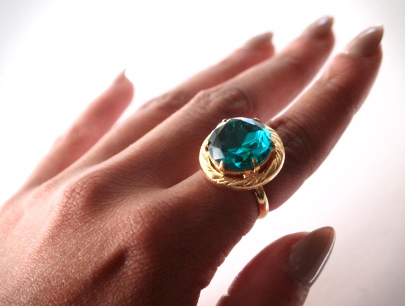 Glitter N Glue DIY Emerald Green Button Ring