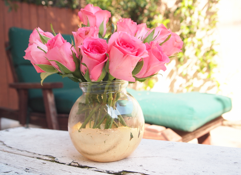 Diy Distressed Gold Leaf Vase
