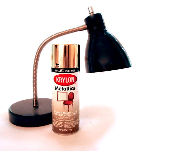 Glitter N Glue DIY Gold Spray Paint Desk Lamp  MATERIALS