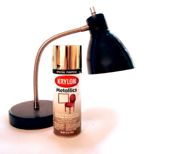 Glitter N Glue DIY Gold Spray Paint Desk Lamp  MATERIALS