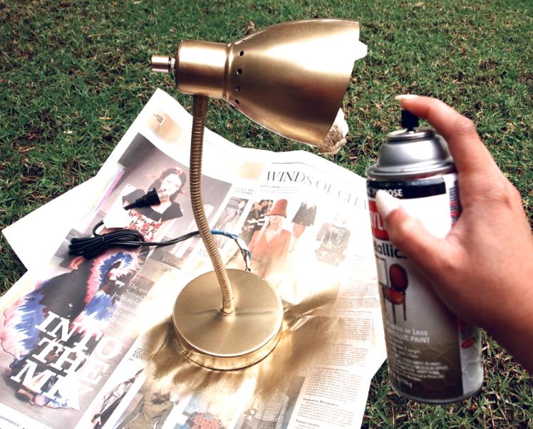 Glitter N Glue DIY Gold Spray Paint Desk Lamp SPRAY