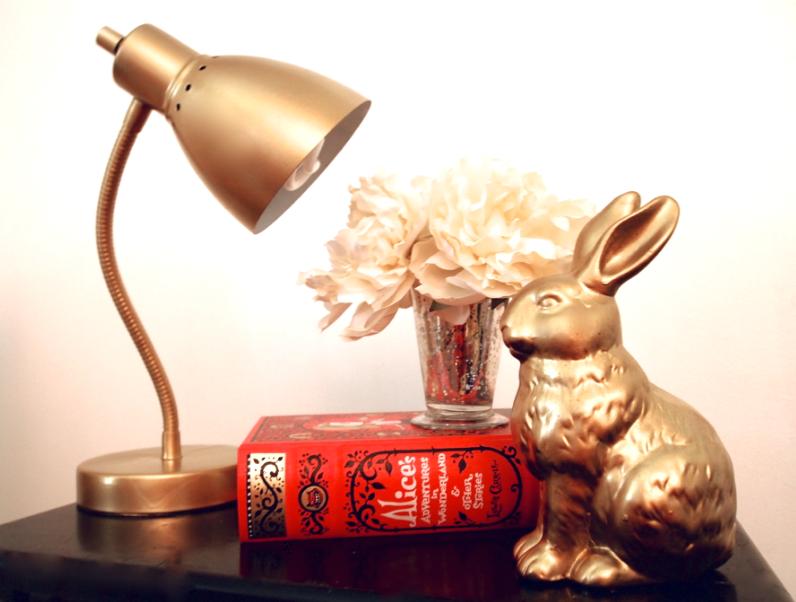 Glitter N Glue DIY Gold Spray Paint Desk Lamp