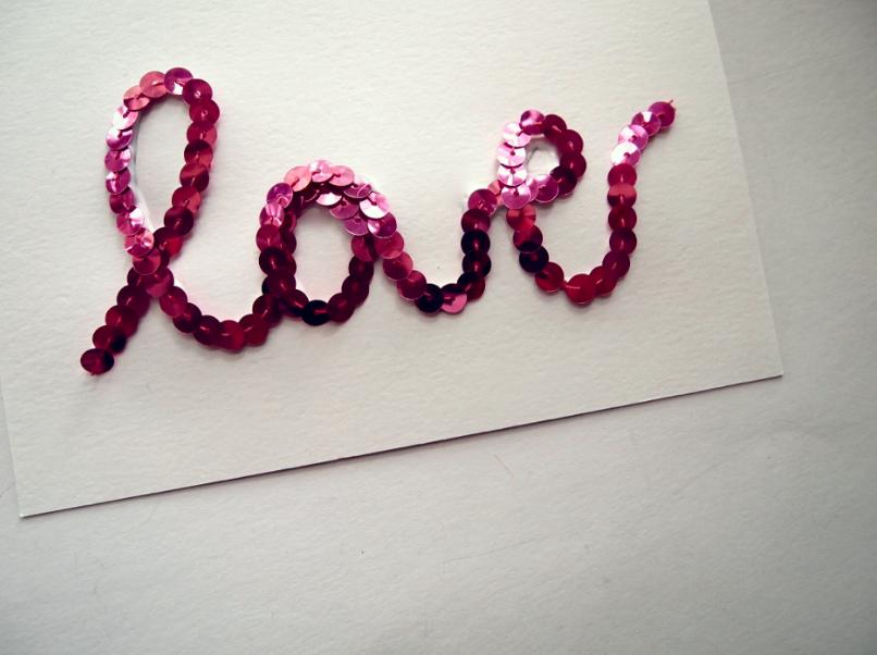Glitter N Glue DIY Sequin Valentines Cards LOVE