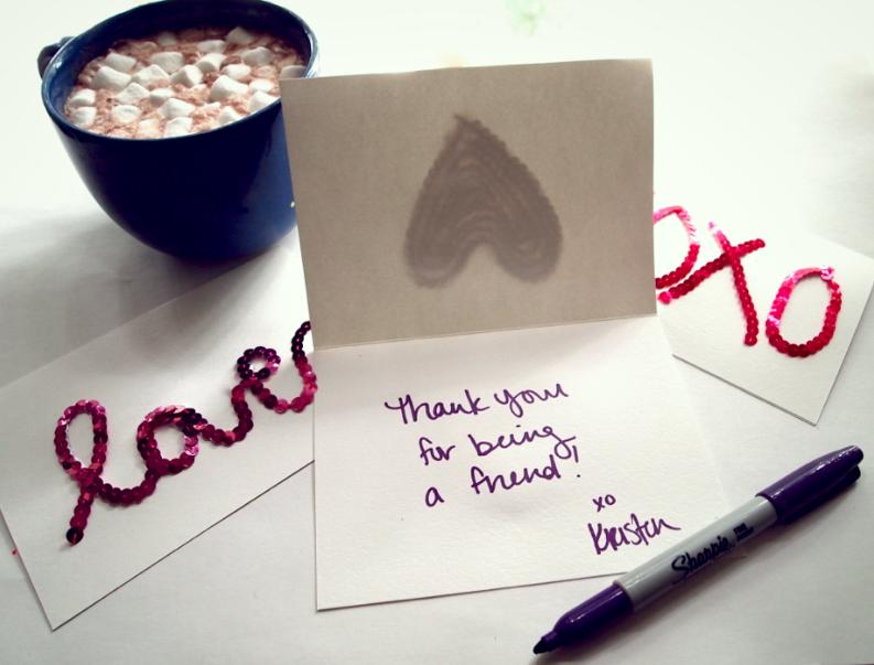 Glitter N Glue DIY Sequin Valentines Cards THANK YOU