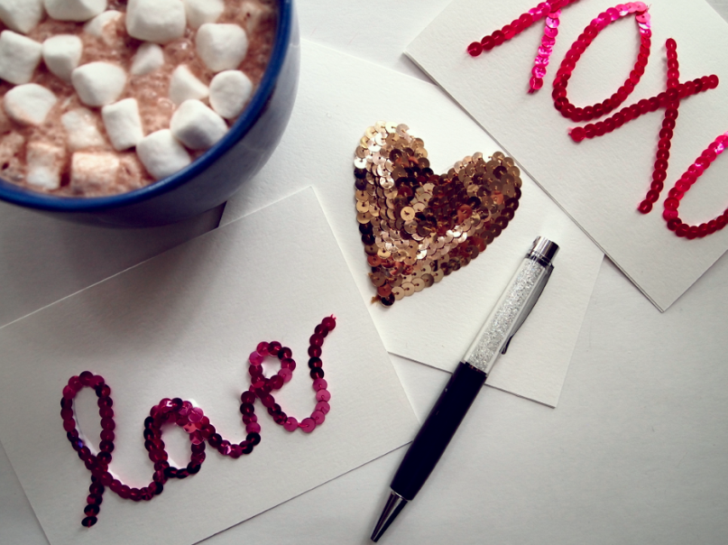 Glitter N Glue DIY Sequin Valentines Cards