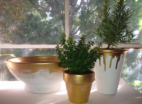 Glitter N Glue DIY Martha Stewart Liquid Gold Painted Clay Pots