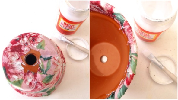 Glitter N Glue DIY Floral Fabric Covered Clay Pot MOD PODGE