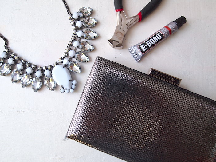 Glitter 'N Glue DIY Jeweled Embellished Clutch MATERIALS