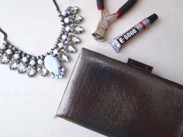 Glitter 'N Glue DIY Jeweled Embellished Clutch MATERIALS