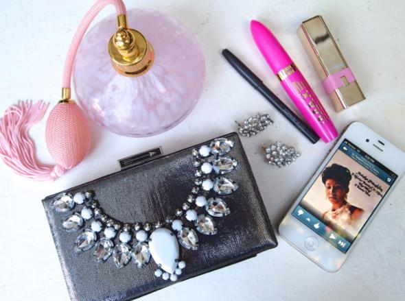 Glitter 'N Glue DIY Jeweled Embellished Clutch WHAT YOU GOT IN THAT BAG