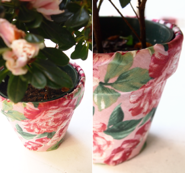 Glitter N Glue DIY Floral Fabric Covered Clay Pot DETAIL