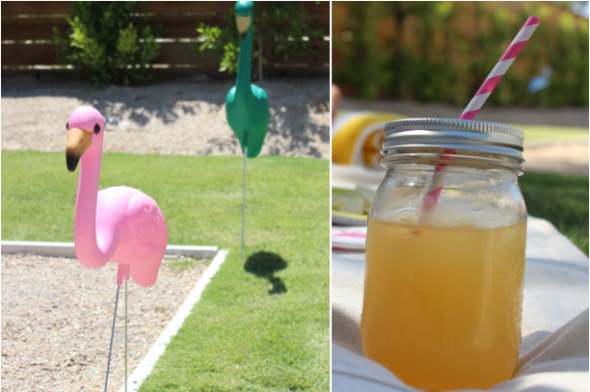 Glitter N Glue Mason Jar and Striped Straw DIY FLAMINGOS