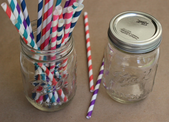 Glitter N Glue Mason Jar and Striped Straw DIY MATERIALS