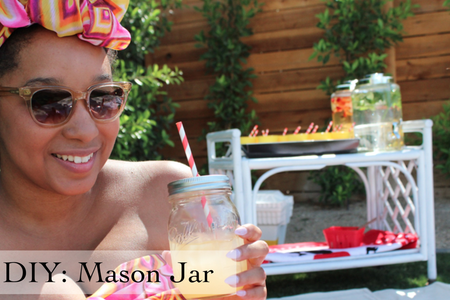 Glitter N Glue Mason Jar and Striped Straw DIY
