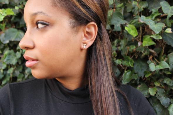 Glitter N Glue DIY initial Stud Earrings T