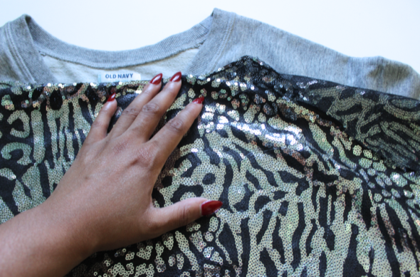 GNG Sequin Embellished sweatshirt DIY  PLACE