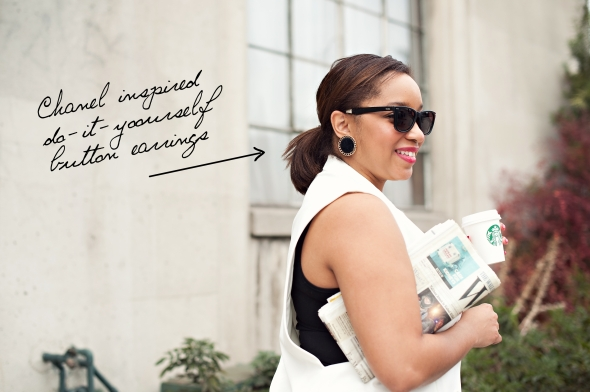 Miss Kris Ong The Go Glitter N Glue DIY Chanel Isnpired Button Earrings EARRINGS