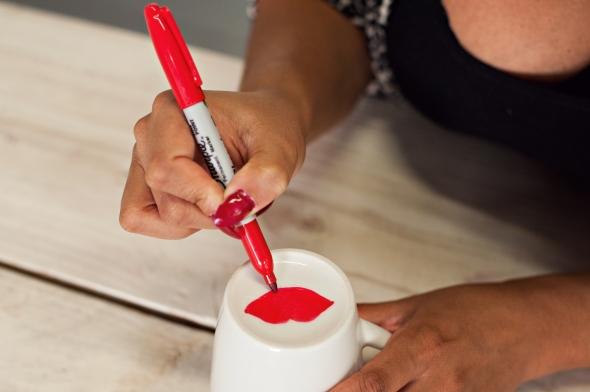 Miss Kris Sharpie Lips Mug Valentines Glitter N Glue  DRAW 3