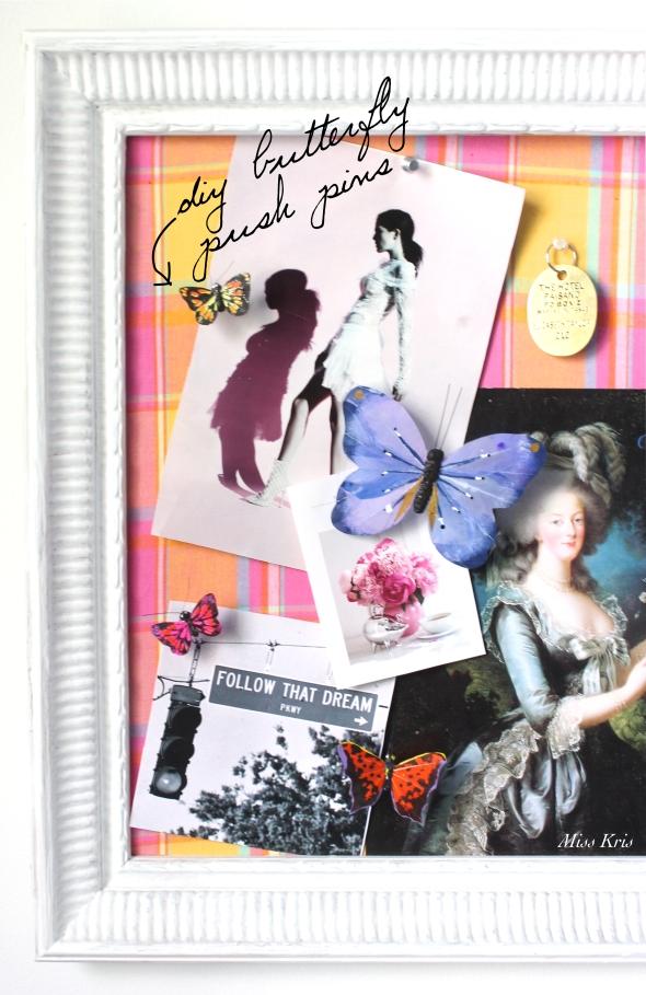Miss Kris DIY Butterfly Push Pins Inspiration Board Office Decor