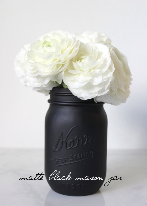 Miss Kris Painted Matte Black Mason Jar DIY